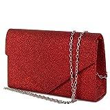 Pochette rossa glitter donna elegante da cerimonia borsa piccola gioiello clutch brillantini borsetta a mano red da sera ragazza cena brillantinata