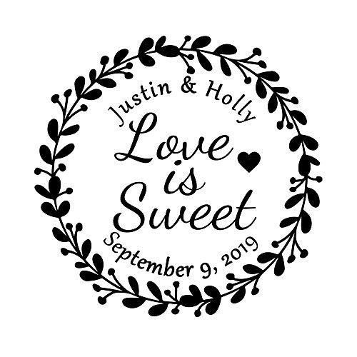 Wedding Business Stamper Personalized Custom 42mm Round Love is Sweet Save The Date Flower Garland Wreath Design Family Monogram Signature Handmade DIY Invitation Card Return Name Address Stamp