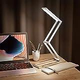 KRX Small Led Desk Lamp - No Blu-ray Led Reading Light for Home Office, Portable & Folding Design Table Lamp, Adjustable Brightness, Cordless Using, USB Charging, Durable Aluminium Alloy Body