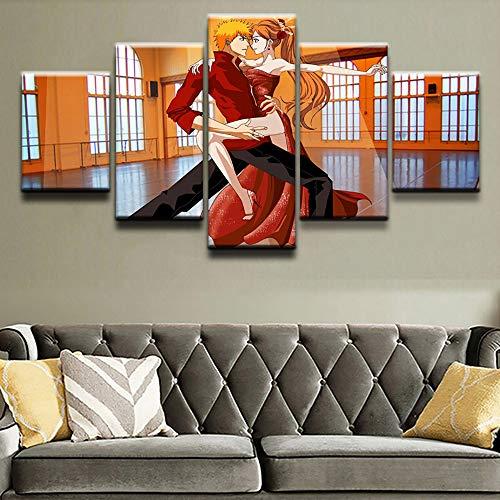 CXZZV 5 TLG Kunstdruck modern Wandbilder 150x80CM Gedruckte Malerei für Wohnzimmer Home Decoration 5 Panel Anime tanzendes Paar Bilder Poster Hochwertige Leinwand Wand Modulare Bilder