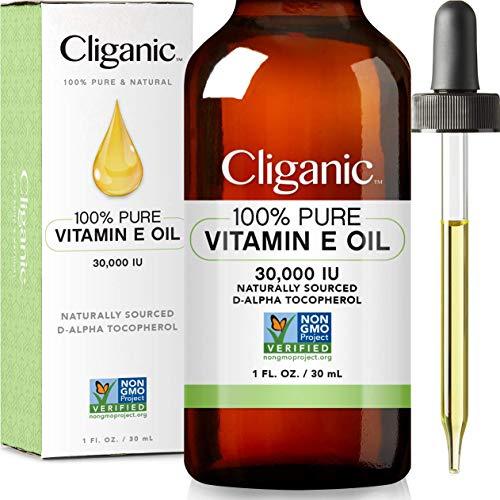 Cliganic 100% Pure Vitamin E Oil for Skin, Hair & Face - 30,000 IU, Non-GMO Verified | Natural D-Alpha Tocopherol