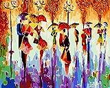 DIY Pintar por números Dessin d'une foule avec des parapluies pintar por numeros caballos Con pincel y pintura acrílica, pintura para adultos por números, kits de decoración d50x70cm(Sin marco)
