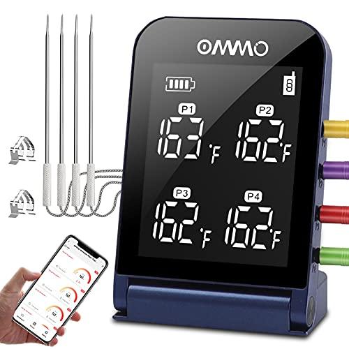 Bluetooth Grillthermometer, Digitales Fleischthermometer 4 Sonden, Küchenthermometer 2s Sofortablesung, Unterstützung für iOS und Android Wasserdichtes Grillthermometer für BBQ, Grill, Backen, Milch