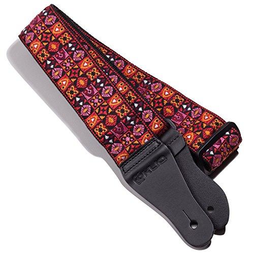 kliq Vintage Gitarrengurt gewebt für akustische und elektrische Gitarren | 60er Jacquard Weave Hootenanny Style | 2Gummi enthalten Gurt Schlösser Woodstock Red