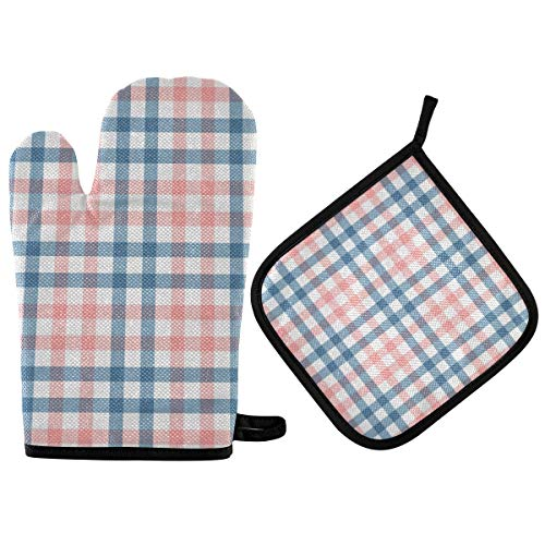 BOOBERT Oven Mitts and Pot Holder Oven Gloves Romantic Red and Blue Lattice Non-Slip Hot Pads Insulation Gloves Heat Resistant Kitchen Set for Cooking Baking Grilling BBQ