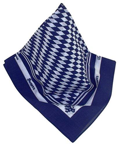 Blau-weißes Nickituch | Kopftuch im Bayern-Look mit Rauten | Bandana aus 100% Baumwolle | Halstuch 53 x 53 cm | Teichmann