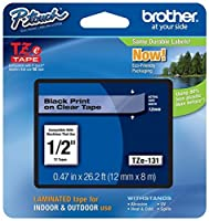 Genuine Brother 1/2 (12mm) Black on Clear TZe P-touch Tape for Brother PT-2700 PT2700 Label Maker with FREE TZe Tape Guide Included [並行輸入品]