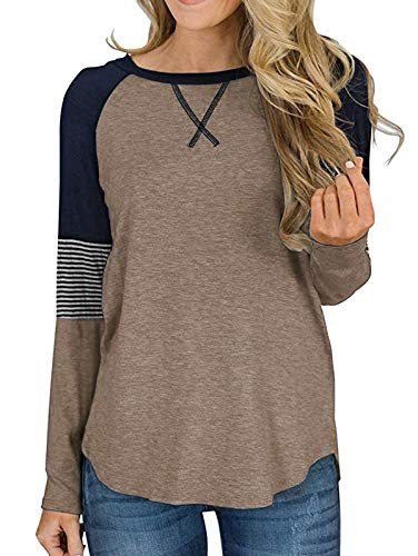 Adibosy Women's Color Block Casual Tunic Blouse Round Neck Pullover Long Sleeve T Shirt Tops Coffee S