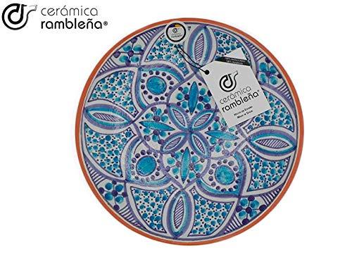 CERÁMICA RAMBLEÑA   Plato Decorativo para Colgar en Pared   Plato de cerámica   Azul   100% Hecho a Mano   27x27x4,5 cm