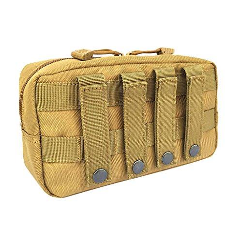MagiDeal Poche Portable Sac Outil Premier Secours Molle Utilitaire Fermeture à Glissière Housse Étanche - Brun, 23x14x7.5cm