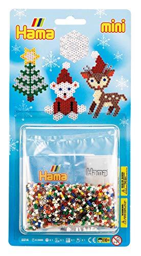 Hama 5514 Bügelperlen Mini, ca. 2000 Stück, inklusive Stiftplatte Sechseck und Zubehör, Weihnachten, Mehrfarbig