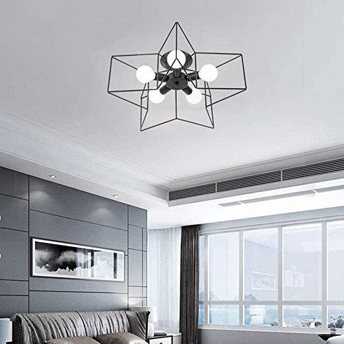 LQ Habitación LED de luz de techo infantil, creativo Hierro forjado de techo de Cinco Puntas de la estrella de la lámpara, E27 * 5 Personalidad niña de decoración de interior iluminación de la lámpara