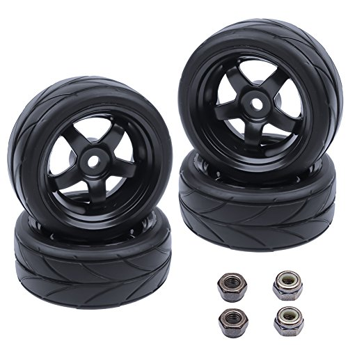 Hobbypark 1/10 On Road Tires & Wheels Rims 12mm Hex Hub for Redcat HPI Tamiya HSP Exceed RC Touring Car Tyre(4-Pack)