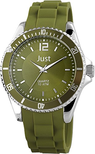Just Watches 48-S3862-DGR - Orologio da polso unisex, cinturino in caucciù colore verde