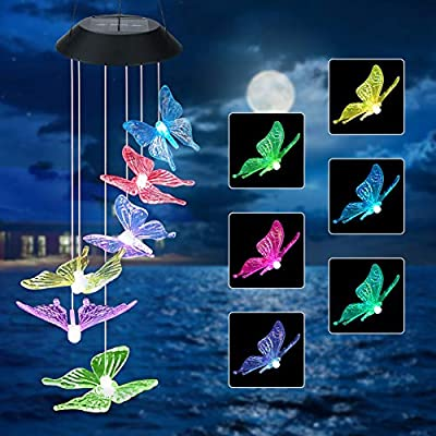 Jhua Wind Chime, Solar Wind Chimes Outdoor Changing Colors, Waterproof Butterfly Wind Chimes, LED Solar Windchime Lights Unique Outdoor Decor for Yard, Patio, Garden, Home, Indoor, Festival