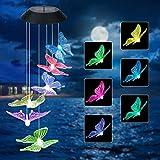 yidenguk Solarleuchten Windspiele für Draußen, Farbwechsel Solar LED Schmetterling Windspiele Beleuchtung Wasserdicht LED Gartenlampe Dekor für Terrasse Deck Hof Rasen Hinterhöfe Wege