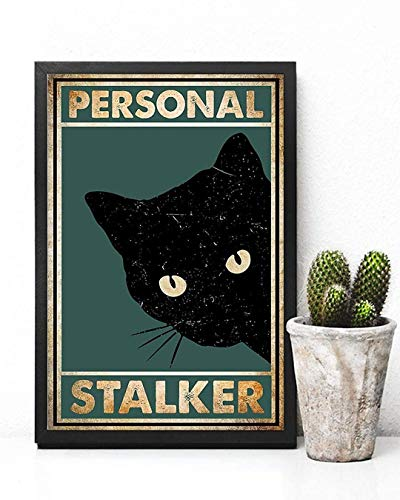 Personal Stalker Black Cat Canvas Wall Art Canvas 0.75 Inch, Home Decor (Size 8x12, 12x18, 16x24, 24x36 Inches)