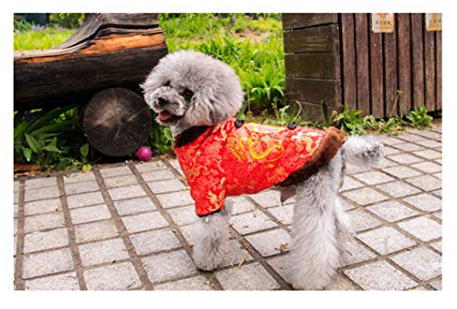 Hotumn Dog Tang Costume Blessing Pet Winter Coat Happy New Year Cheongsam Qipao Dresses Cat Peony Design Clothes for Schnauzer Teddy French Bulldog (X-Large)