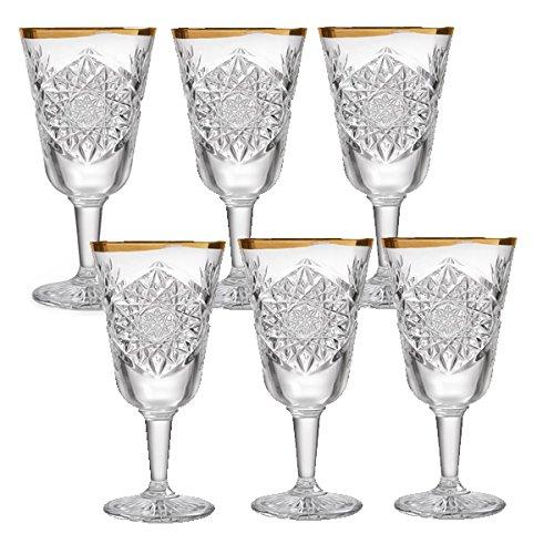 Libbey Hobstar - Weinglas, Rotweinglas, Weißweinglas - Kristall - mit wellenförmigen Goldrand - 6 Stück