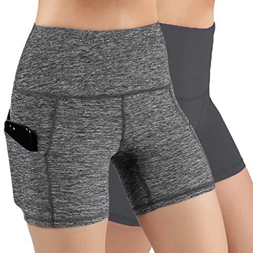 URIBAKY - Leggings de cintura alta, elásticos de deporte para mujer, pantalones cortos de levantamiento de caderas, entrenamiento, yoga, pantalones cortos Marrón, gris L