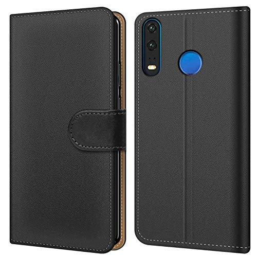 Conie Handyhülle für Xiaomi Mi A2 Lite Hülle, Premium PU Leder Flip Hülle Booklet Cover Weiches Innenfutter für Mi A2 Lite Tasche, Schwarz