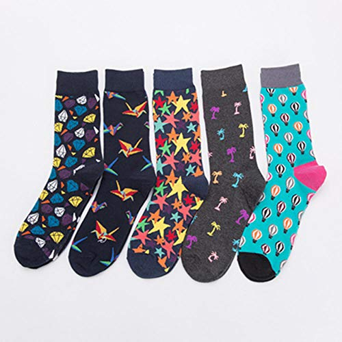 MIWNXM 10 Paare Novelty Happy Funny Men Graphic Socks Combed Diamond Coconut Tree Balloon Thousand Paper Cranes Five-Pointed Star Cotton Sock