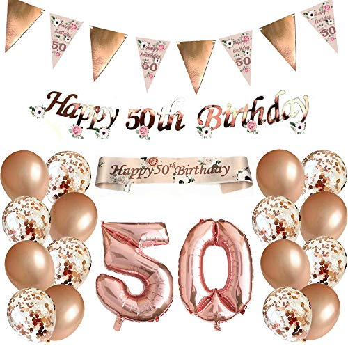 Blue Planet Fancy Dress 50th Birthday Decorations Rose Gold Floral Bunting Garland, Foil Banner, Sash, Number, 16 Confetti Balloons for Women Girls Happy Birthday Party 50