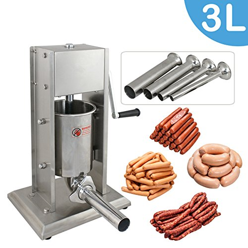 BBBuy 3L Vertical Commercial Sausage Stuffer 7LB Two Speed Stainless Steel Meat Press