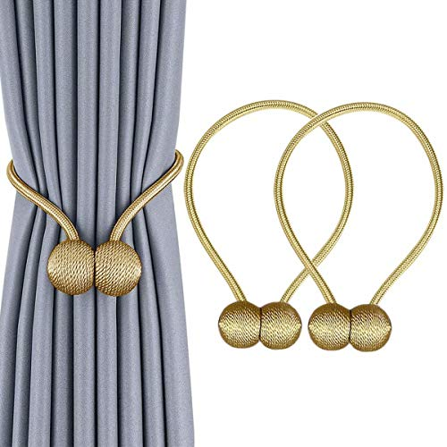 IHClink Window Curtain Tiebacks Clips VS Strong Magnetic Tie Band Home Office Decorative Drapes Weave Holdbacks Holders European Style 1 Pair