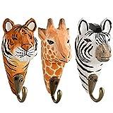 Your Castle 3 Wandhaken Garderobehaken Kleiderhaken aus Holz Tiger, Giraffe, Zebra, mit Metallhaken handgearbeitet