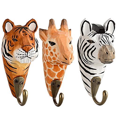 3 Wandhaken Garderobehaken Kleiderhaken aus Holz Giraffe, Zebra, Tiger mit Metallhaken handgearbeitet 13 cm Kinderzimmer