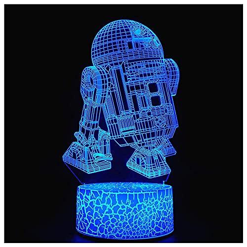 Luz Nocturna De Ilusión Óptica 3D, Lámpara De Escritorio Led Visual Creativa, Control Táctil, 7 Colores C, Alimentada Por Usb Para Decoraciones Del Hogar O Regalos Navideños (R2D2)