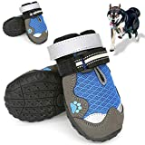 Dolebean Dog Shoes for hot Pavement, Dog Boots, Mesh Dog Shoes with Reflective and Adjustable Straps | Mesh Breathable Nonslip and Wear-Resisting Soles,4pcs(Blue/7)