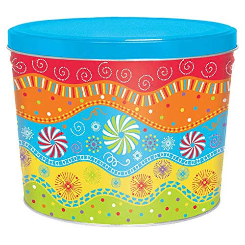 New C.R. Frank Popcorn - Gourmet Popcorn Tin, 2 Gallon, Panache (2 Way, Butter and Cheese)