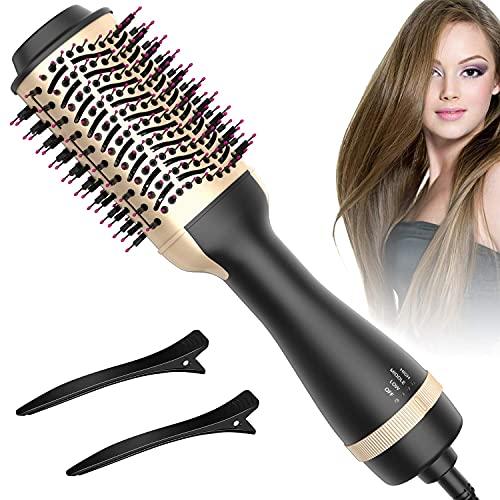 Hot Air Brush, Bongtai Hair Dryer Brush One Step Hair Dryer & Volumizer 3 in 1 Brush Blow Dryer Styler for Rotating Straightening, Curling, Salon Negative Ion Ceramic Blow Dryer Brush(Golden) .