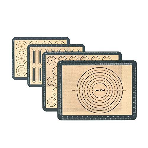 Lazymi 4 Stück Antihafte Backmatte Silikon mit Messung für Macaron/Kuchen/Brot/Pizza Matte Backunterlage Silikonmatte Backpapier Backfolie Ausrollmatte Teigmatte Tischset BPA Frei (Grau)