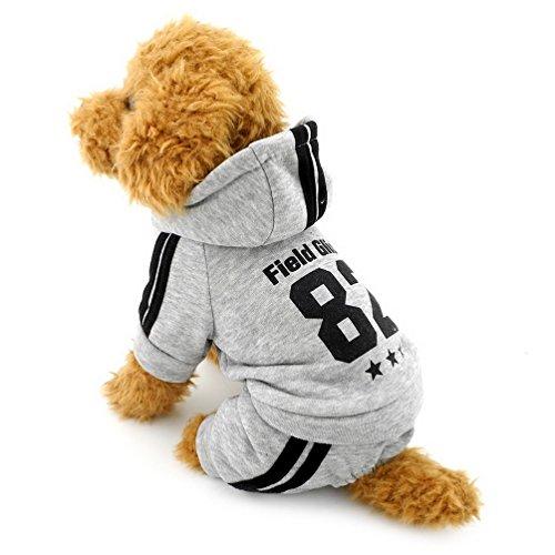 Selmai Lana de forro polar para perro pequeña mascota sudadera de invierno para cachorro gato chándal con capucha gruesa y cálida de algodón abrigo de cuatro patas trajes Yorkie Chihuahua ropa gris XS