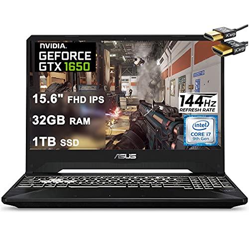 Asus 2021 Flagship TUF FX505GT 15 Gaming Laptop 15.6' FHD IPS 144Hz Display Intel Hexa-Core i7-9750H 32GB DDR4 1TB SSD GTX 1650 4GB Webcam DTS RGB Backlit WiFi Win10 + iCarp HDMI Cable