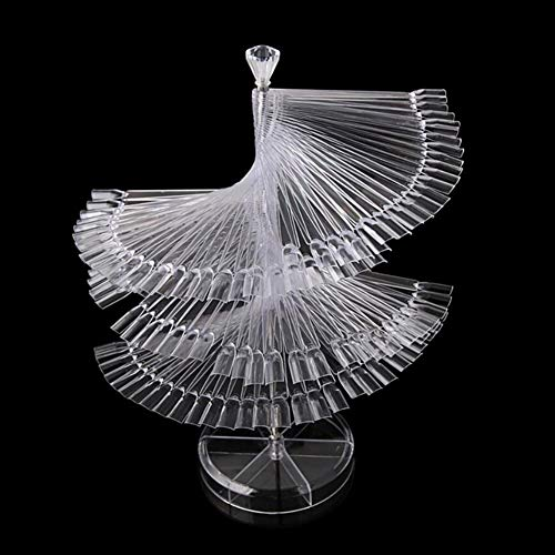 Nail Art Tips Stand, 120-Color Pro Spiral Fan Shape Tips Stick Polish Display Board Stand Holder Nail Art Tips Nail for Display Practice