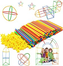 RAINBOW TOYFROG Straw Constructor STEM Building Toys 300 pcs Interlocking Plastic-Educational Toys Engineering Building Blocks -Construction Blocks- STEM Toys for 3-12 Year Old Boys and Girls
