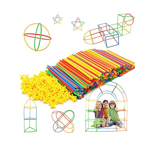 Straw Constructor STEM Building Toys 300 pcs-Colorful Interlocking Plastic Enginnering Toys- Fun- Educational- Safe for Kids- Develops Motor Skills-Construction Blocks- Best Gift for Boys and Girls …