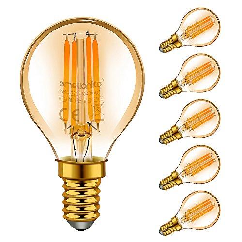 Emotionlite E14 LED Vintage Lampe,LED Filament Glühlampen,4W (40W Equivalent),Bernstein Glühen,2200K,E14,Golfball P45/G45,6 Stück