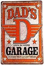 Placa de metal ERLOOD Dad's Garage, decoração de parede de garagem 30,48 x 20,32 cm