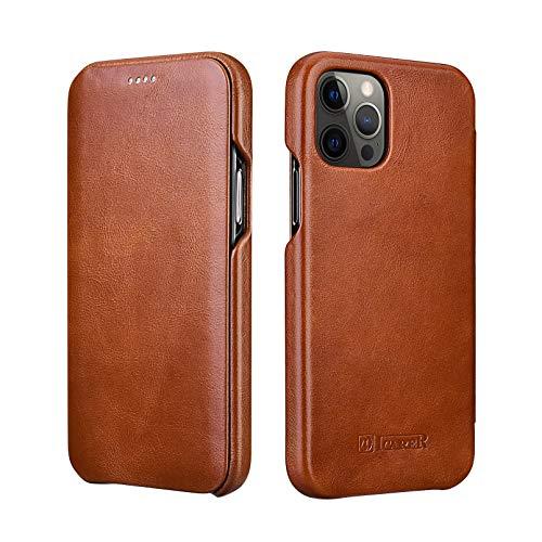 ICARER Custodia iPhone 12/12 PRO, Custodia Copertura di Vibrazione Flip Case Cover con Magnet Nascosto per Apple iPhone 12/12 PRO 2020 6.1 Pollici (Marrone)