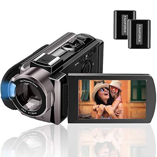 Camcorder Videokamera Full HD 1080P 24MP,Rokurokuroku Vlogging Kamera für YouTube 16X Digitalzoom 3.0 Zoll LCD 270 Grad Drehbildschirm mit 2 Batterien