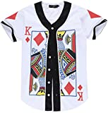 PIZOFF Unisex Short Sleeve King of Heart Basketball Team Baseball Shirt Y1724-41-S