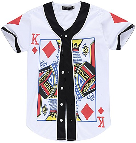 PIZOFF Unisex Short Sleeve King of Heart Basketball Team Baseball Shirt Y1724-41-S