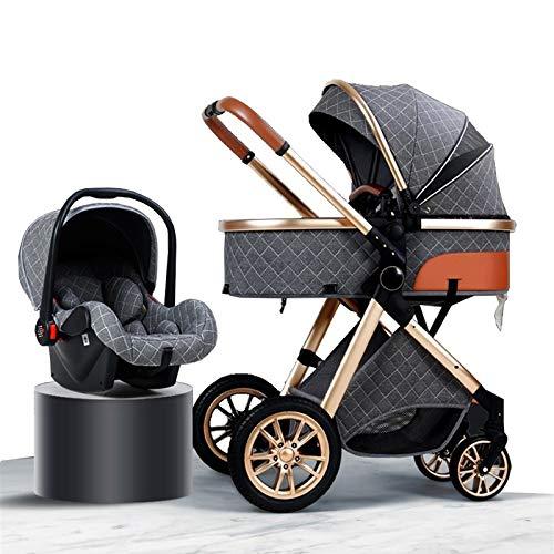 HHGO Cochecito de bebé 3 en 1 Cochecitos de bebé Organizador de cochecito de bebé grande para mamá, cubierta de lluvia de lujo, silla de paseo de amortiguación, para correr, azul (color: gris)