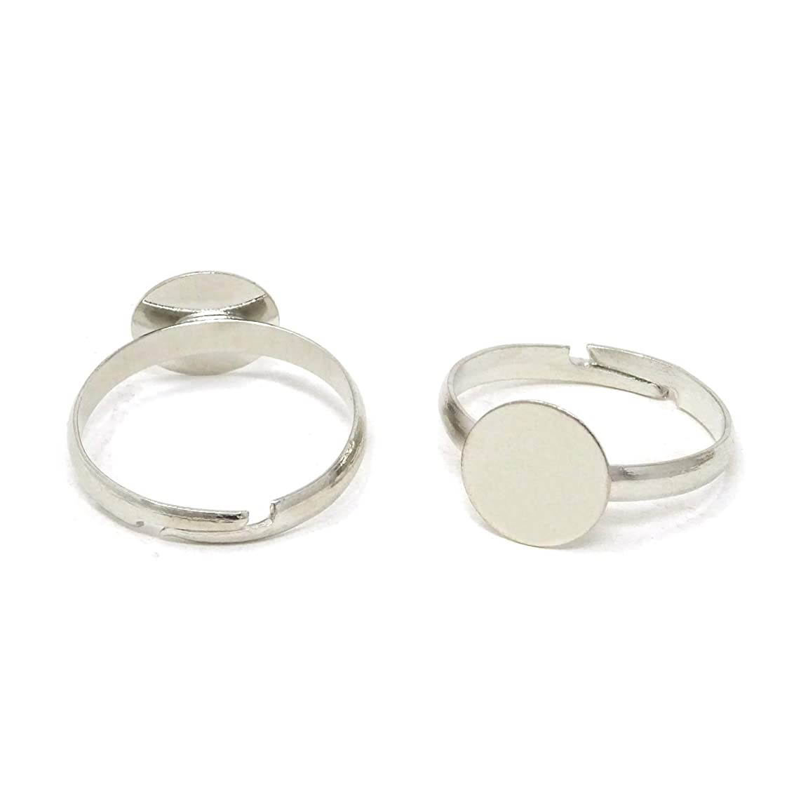 Honbay 20PCS Adjustable Blank Rings with 10mm Flat Bases Jewelry Making Supplies
