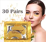 New Crystal 24K Gold Powder Gel Collagen Eye Mask Masks Sheet Patch, Anti Ageing Aging, Remove Bags, Dark Circles & Puffiness, Skincare, Anti Wrinkle, Moisturising, Moisture, Hydrating (30 Pairs)